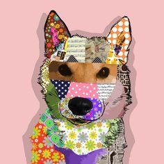 Patch collage stijl pop art portret voor je hond. Het werkt gewoon.