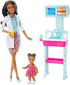 Explore new careers in depth with the Barbie Careers complete play sets. From medicine to teaching these focused females make anything possible! With the Barbie Careers Complete Play Doctor set girl. Mattel Barbie, Mattel Shop, Play Barbie, Barbie Hair, Barbie Clothes, Barbie Playsets, Barbie Website, Black Baby Dolls, African American Dolls