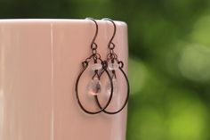 Lucky Earrings - Oxidized Sterling Silver with Flashy Rainbow Moonstone, by PrincessTingTing, $28.00