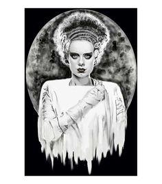 Monsters Bride Art Print by Artist Shayne of the Dead #brideoffrankenstein #Monsters #Frankenstein #blackmarketartcompany