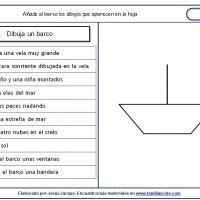Fichas de comprensión de instrucciones escritas, dibujo de un barco