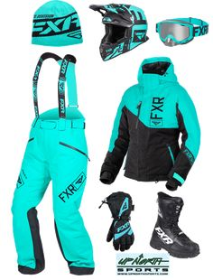 FXR Snowmobile Outfit - Mint Check out this outfit from FXR available at Up North Sports Dirt Bike Girl, Dirt Bike Riding Gear, Dirt Bike Helmets, Dirt Bike Racing, Womens Dirt Bike Gear, Dirt Biking, Dirt Bike Suits, Womens Motocross Gear, Fox Racing Clothing