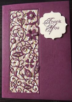 Tattered Lace Floral Panel Thank You card - outside