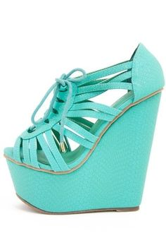 Turquoise wedge summer shoes ...