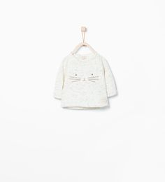 organic cotton sweatshirt with embroidered face from Zara