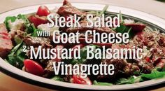 This recipe combines steak, goat cheese and a wonderful mustard vinaigrette in this tasty summer salad. #AlbertaBeef