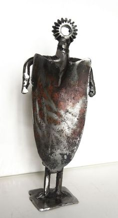 """""""Irsum"""" by Jean-Luc Lacroix. Sculpture, Subject: People and portraits, Expressive and gestural style, One of a kind artwork, Signed on the front, Size: 11 x 24 x 7 cm   /  11 x 24 cm (actual image size), Materials: welded steel"""