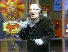 "WKRP in Cincinnati - Les Nessman's narration of live turkeys being pushed out of a helicopter and """"Oh the humanity!!"" -- turkeys are hitting the ground like sacks of wet cement"""