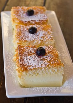 Magic Cake: one simple thin batter, bake it and voila! You end up with a 3 layer cake, w its own custard baked in.
