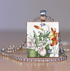 Botanical Flower Art Pendant or Lapel Pin made from by spiffycool