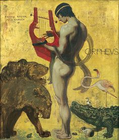 Orpheus, 1891, Franz von Stuck.*** Orpheus  was a legendary musician, poet, and prophet in ancient Greek religion and myth. The major stories about him are centered on his ability to charm all living things and even stones with his music, his attempt to retrieve his wife, Eurydice, from the underworld, and his death at the hands of those who could not hear his divine music.His  father was Oeagrus, a Thracian king; or the god Apollo. His mother was the muse Calliope,