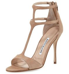 """Cellin suede t-strap high-heel sandal by Manolo Blahnik. Manolo Blahnik suede sandal. 4. 3"""" covered heel. Tapered strap over open toe. T-strap vamp. Dual ..."""