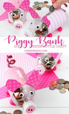 DIY Water Bottle Piggy Banks Craft #money #kids #animalcraft #kidscraft #piggybanks #repurpose #EarthDay #plasticbottle