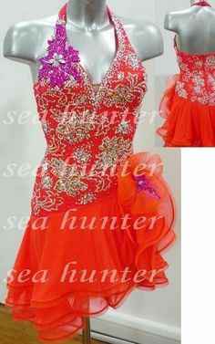 372c Ballroom ChaCha Ramba Latin rumba salsa samba tutu Dance Dress UK 8 US 6 #null