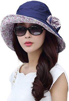 65129cde SIGGI Bucket Boonie Cord Fishing Beach Cap Summer Sun Hat Wide Brim for Women  UPF50+ Navy ¡ at Amazon Women's Clothing store: