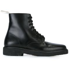 Common Projects combat boots (£440) ❤ liked on Polyvore featuring shoes, boots, black, leather combat boots, combat boots, black army boots, black leather shoes and leather shoes