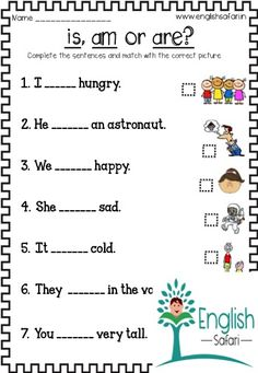 is am are verbs worksheets to understand the usage of is, am and which is an important grammatical concept to form sentences. English Grammar For Kids, English Phonics, Learning English For Kids, Teaching English Grammar, English Lessons For Kids, English Activities For Kids, Grammar Lessons, Learn English Words, Kids English