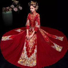 RED Especial Fashion Chinese bride wedding gown dress Golden cheongsam embroidery female golden Spring Autumn Qipao Plus Size Chinese Wedding Dress Traditional, Chinese Bride, Traditional Dresses, Red Wedding, Wedding Gowns, Wedding Sets, Wedding Bride, Cheongsam Wedding, Chinese Clothing