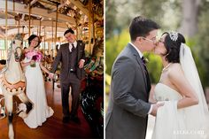 San Francisco Zoo Wedding Carousel Merry Go Round Pink Bouquet Flowers