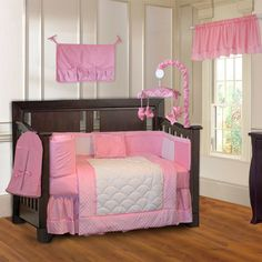 cf78e9315 BabyFad Minky Pink 10-piece Girls' Baby Crib Bedding Set with Musical Mobile