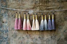 Silk Tassel Earrings Hand Dyed Tassels Grey Smoke by vintagefables
