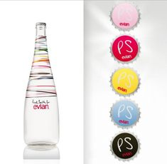 Paul Smith, known for his sense of fun and optimistic attitude, has designed a bottle for Evian which will be on sale in limited amounts until Christmas. Paul Smith, Brand Packaging, Packaging Design, Mineral Water, Bottle Design, Luxury Branding, Lemonade, Water Bottle, Trends