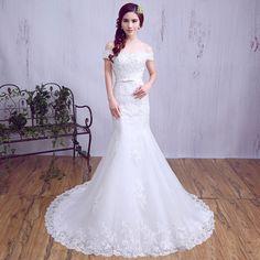 婚纱礼服2016春季新款韩式一字肩鱼尾新娘结婚修身蕾丝长拖尾婚纱