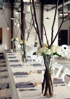 Centre de table pour un mariage thème hiver. Elegant winter wedding centerpieces.