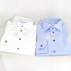Eton overhemden 100% katoen glad hemd met gekleurde knoopjes