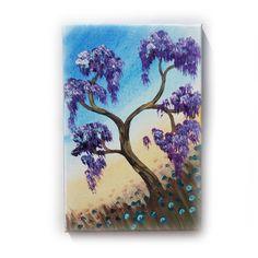 "Violet Oak Painting Tree Original small Art 1 KSAVERA 8""x12"" Flowers Sunrise Sunset Sakura painting on canvas birthday for mom her by KsaveraART #TrendingEtsy"