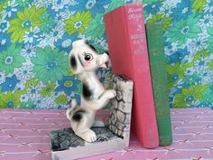 Kitschy cute, retro Poodle figurine book-end.