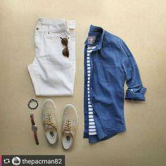 "- CAPSULE WARDROBE (@capsulewardrobemen) on Instagram: ""Let The Stripe Shine. Follow @capsulewardrobemen for more. . . . #mensfashion #flatlay #outfitgrid…"""