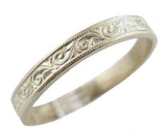 Victorian Style Sterling Silver Foliate Designed Wedding Band: I like the idea of a discreet silver band with some nice, Victorian-esqu scrollwork for a day-to-day wedding band. Crown Jewels, Antique Rings, Victorian Fashion, Wedding Bands, Women's Rings, Bangles, Fairy Godmother, Sterling Silver, Nice