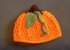 Crochet pumpkin beanie hat  newborn through by NewCreationCrochet, $14.99
