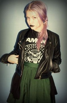 green skirt, graphic tee, leather jacket <3