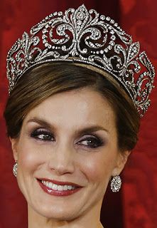 Tiara Mania: Queen Victoria Eugenie of Spain's Fleur de Lys Tiara worn by Queen Letizia of Spain