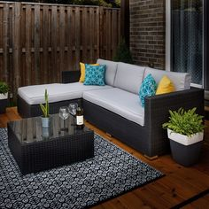 Happy Sunday, picture yourself relaxing in your backyard on this comfy sectional! Modern Garden Furniture, Wicker Patio Furniture, Patio Chairs, Furniture Ideas, Backyard Patio, Backyard Ideas, Yard Landscaping, Patio Ideas, Clearance Outdoor Furniture