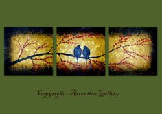 Triple Painting Love Birds  Tree with Red by ArtonlineGallery, $180.00