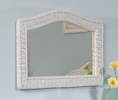 Wide Arched Wicker Mirror