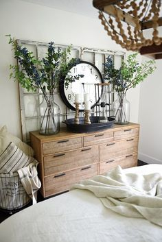 Rustic wood dresser - Country cottage master bedroom makeover  If you like this, why not head on over to http://www.TheHomeDesignSchool.com/signup for more modern country design inspiration, plus get FREE access to our home design resource library.