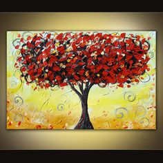 Original acrylic tree painting on canvas huge by danlyespaintings, $199.99