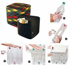 Puff reciclado con botellas de plastico