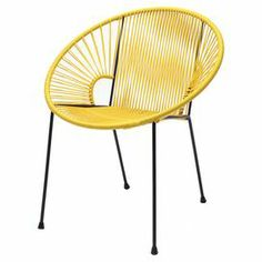 """Acapulco-inspired chair with a woven seat and steel frame.   Product: ChairConstruction Material: Steel and vinylColor: Yellow and blackFeatures:  Vinyl is UV treatedFrame powder coated to resist rust Dimensions: 35"""" H x 28"""" W x 17"""" D"""