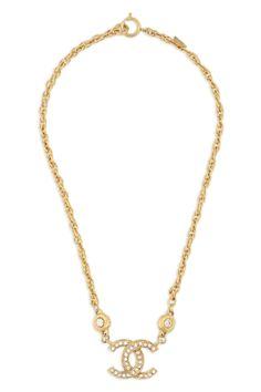 Vintage Chanel CC In Crystals Necklace
