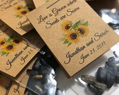 Personalized Custom Sunflower Seed Favors RUSTIC Watercolor | Etsy