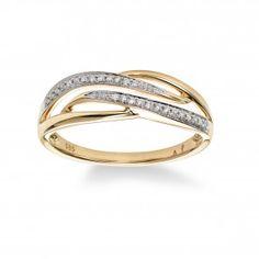 Modern Diamond Ring, 14K Yellow Gold