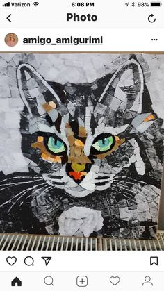 My Shadow - Stained Glass Mosaic Art, Complete by MosaicSmith (Linda).Cats in mosaic Mosaic Designs, Mosaic Patterns, Mosaic Crafts, Mosaic Art, Third Grade Art, Landscape Art Quilts, Mosaic Animals, Cat Quilt, Animal Quilts