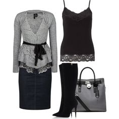 """A gray winter...dressy/casual"" by jvs8384 on Polyvore"