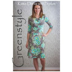 Greenstyle Katie Dress or Peplum Top Sewing Pattern - Extensively tested and brilliantly designed, the Katie has that amazing ability to look great on a wide variety of body types. You will love the size range, the easy to read and follow directions, and the speed at which you can complete this fantastic dress (or Peplum). :: $10.00