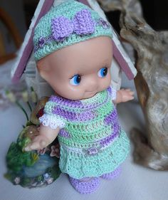 Crochet clothes for 6 1/2 7 inch Kewpie Rubber baby doll